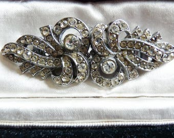 Art Deco Rhinestone Duette Dress Clips Brooch Hollywood Regency