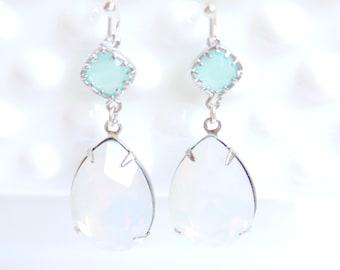 White and Aqua Blue Tear Drop Silver Pear Drop Dangle Earrings - Wedding, Bridal, Bridesmaid, Holiday , Gift
