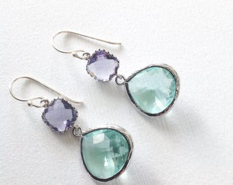 Mint Earrings, Mint drop earrings, Mint bridesmaids earrings, wedding jewelry mint and purple, mint purple earring, gift for her