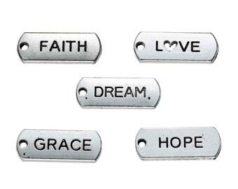 """10pcs. Antique Silver """"Faith Love Dream Grace Hope"""" Rectangle Charms Pendants - 21mm X 8mm"""