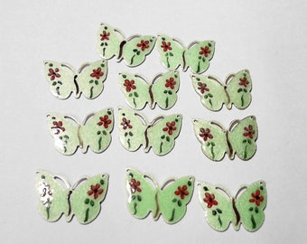 Vintage Finding Guilloche Light Green Enamel Butterfly  Connector or Charm - Set of 11