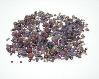 Purple Glass Bead Mix Various Sizes - 20 grams - Purple Passion Bead Soup