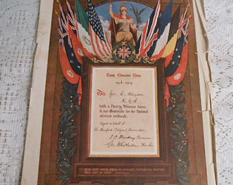 WORLD WAR I Military Service Tribute Hereford England, 1919 Soldiers & Sailors Day Nation Flags, Original Raphael Tuck Certificate 11 x 15