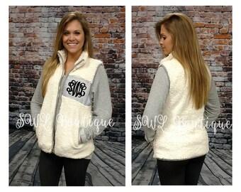 Monogrammed Sherpa Vest - Ivory/Gray Sherpa Vest Pullover - Monogrammed Vest - Personalized Pullover Vest - Fuzzy Jacket