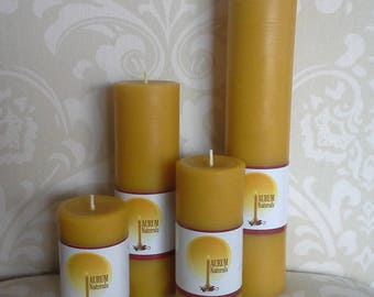 Handmade 100% Beeswax Candles - set of 4 column pillars