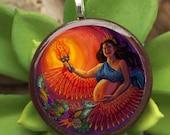 Bountiful Birth Art Pendant - baby shower, midwife, doula, motherhood, goddess