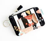Cute Wallet - End of Year Teacher Gift for Her - ID Card Holder - Compact Wallet -  Floral Wallet - Zipper Coin Pouch - Zookaboo