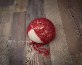 J'Adore Bonnet - READY TO SHIP - newborn mohair photo prop knit heart hat