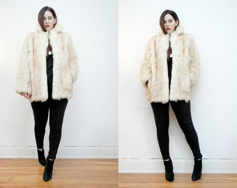 Vintage Fox Fur Real Cream Saga AMAZING Fur jacket Coat