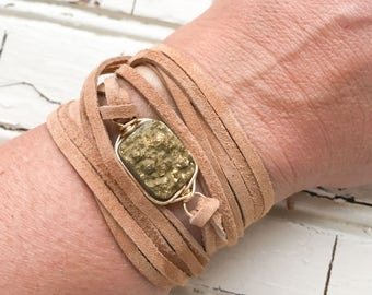 Rectangle Gold Druzy Leather Wrap Bracelet