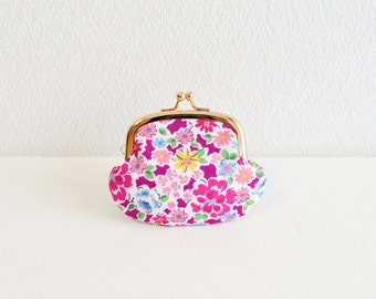 Elegant floral tiny coin purse -253- magenta, Handmade in Japan. Ready to ship.