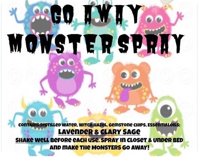 GO AWAY Monster Spray essential oils Lavender & Clary Sage with semi precious Gemstones 4oz