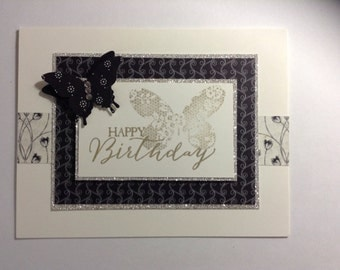 Happy Birthday - handmade stamped card, butterfly, black & white