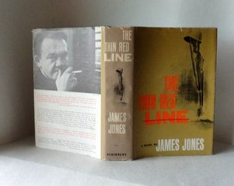 Vintage Book The Thin Red Line by James Jones WWII War Novel Scribners 1962 Hardcover Dust Jacket Military Fiction Library Old Collectible