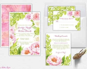 Hops, Peonies, Watercolor Wedding Invitations - Outdoor, Garden, Rose, Brewery, Pink, Green