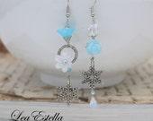 RESERVED For Daniele* Pale Ice Blue earrings, Winter earrings, snowflake earrings Mismatched Asymmetrical Earrings - Snowflake