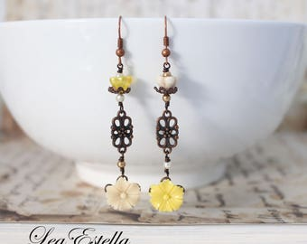 Asymmetrical earrings Floral mismatched earrings woodland earrings Rustic earrings Bohemian earrings Yellow floral earrings - Buttercream