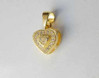 1 PC  Gold plated sterling silver  heart charm with cz , cz heart charm (8.4x10mm with bail 14.2mm jump ring )