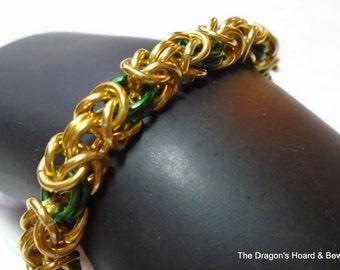 Byzantine Bracelet - Gold & Green