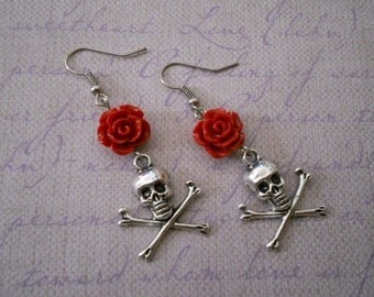 Skull crossbones earrings with flowers gothic lolita punk