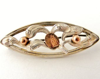 French art nouveau silver mistletoe brooch with rose gold and Virgin Mary with Jesus