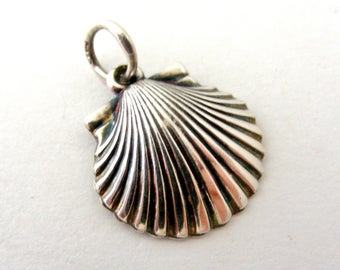 French vintage sterling silver pilgrim charm scallop shell with saint