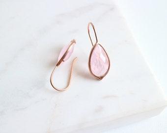 Rose Water Teardrop Hook Earrings - Rose Gold Bridesmaid Earrings - Rose Gold Earrings - Wedding Earrings -