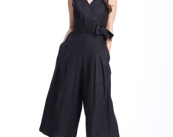 Delight to Wear/ Mid-weight /V Neck/Fitted Waist Linen Jumpsuit with Pleated Wide Legs /A Cute Bow at The Waist/ 10 Colors/ RAMIES
