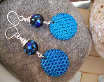 Blue and Turquoise Czech Glass and Mermaid Scales Charms Wire Wrapped Dangle Earrings