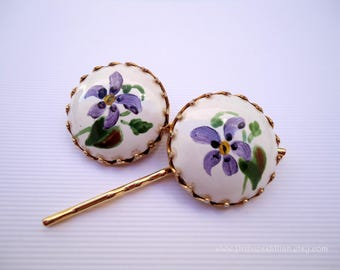 Vintage earrings hair slides - Hand painted lavender purple lilies ceramic smooth simple floral embellish Spring decorative hair accessories