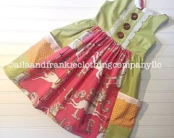 Girls Clothing  - Boutique Dress - Toddler Dress - Girls Spring Dress - Toddler Spring Dress - Easter Dress - Horse - Carousel - Pink dress