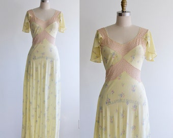 1940s Floral Nightgown / 30s 40s Bias Cut Lingerie