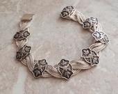 Sterling Rose Bracelet Silver Chain Link 7 Inch Vintage CW0255