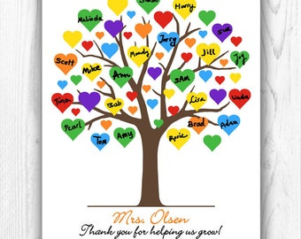 Teacher Gift, Teacher Appreciation Gift, Gift for Teacher, End of year Personalized Tree, Custom Teacher Thank You - DIGITAL PRINTABLE JPEG