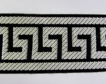 GREEK KEY tape braid border flat trim 2.65 inch pearl white on black