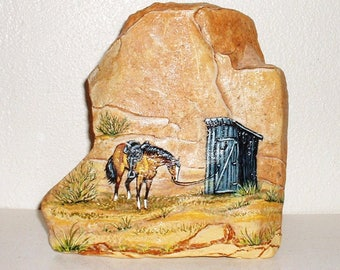 COWBOY PIT STOP ! Super Western Collectible ! Painted Rock
