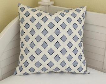 Kravet Diamondots in Indigo (both sides) Designer Pillow Cover - 20x20