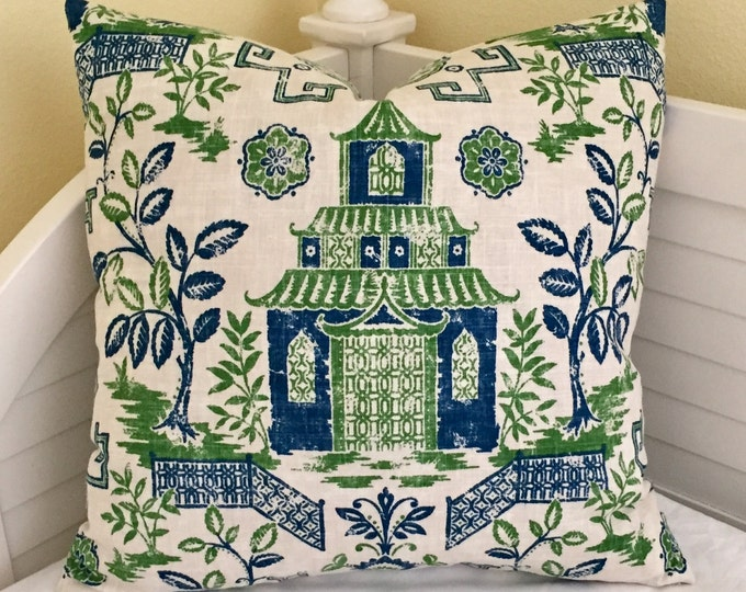 Teahouse Toile Designer Pillow Cover - Square, Euro and Shams