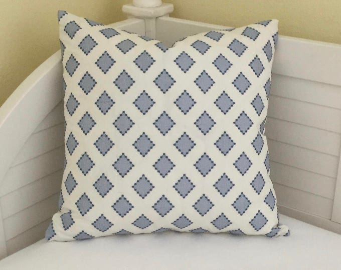 Kravet Diamondots in Indigo (both sides) Designer Pillow Cover - 20x20