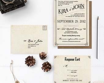 "Vintage style wedding invitations, Rustic Wedding invitation Set, Art Deco, the ""Kira"""