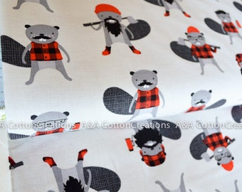 Quilting Cotton, Burly Beavers Fabric, Red Grey Fabric, Hipster fabric, Boy Fabric