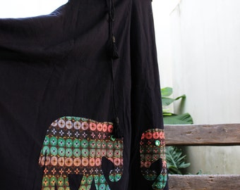 Wide Leg Pants - Black Cotton with Stitched Cotton Elephants RE1701-04