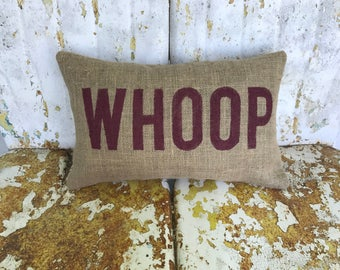 Texas Aggies WHOOP Aggie Pillow Collegiate Decor Burlap Decorative Throw Pillow Custom Color Available Gift Home Decor