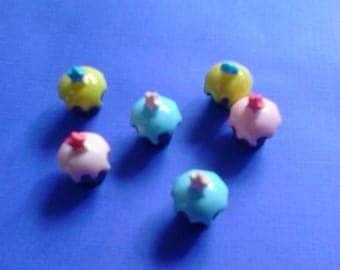 Kawaii mini cupcake with star on top cabochons  decoden deco diy charm 6 pcs---USA seller