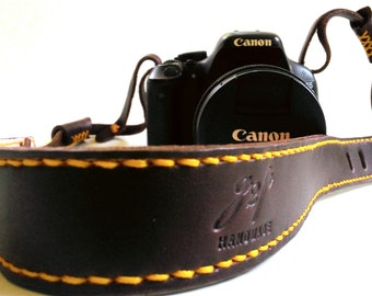 Dark brown Bridle leather camera strap Yellow stitched