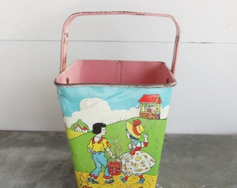 Vintage Chein Tiny Sand Pail, Tin Lithographed Toy, Humpty Dumpty, Jack and Jill, Baker Man