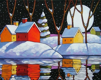 "Art Print by Cathy Horvath 8""11"" Modern Folk Art Giclee Christmas Eve, Night Moon Snow Reflection, Winter Landscape Artwork Reproduction"