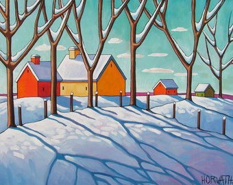 "Fine Art Print Reproduction by Cathy Horvath 8.5""x11"" Modern Giclee Artwork, Winter Cottage Snow Trees, Cool Blue Shadows Folk Art Landscape"