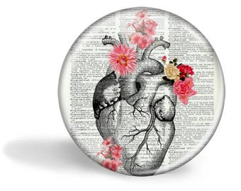 Heart With Flowers Magnet Heart With Flowers Mirror Heart With Flowers Button Pin  Anatomy Gift HHP Original Gift Under 5