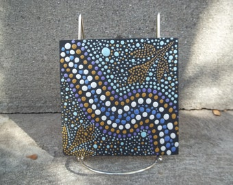 Square wood Dot Art Plaque #229